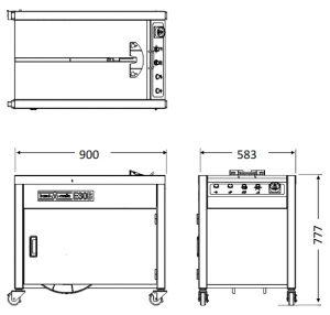 半自動梱包機 E30B(ボックスタイプ)寸法図