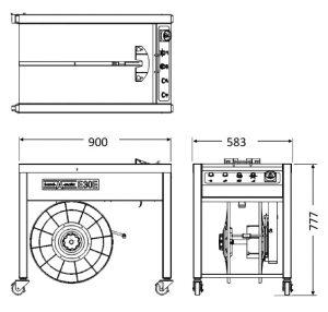 半自動梱包機 E30E(標準オープン型)寸法図