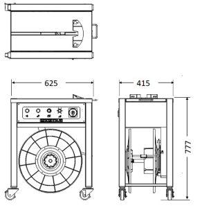 半自動梱包機 E30J-2(小型オープン型)寸法図